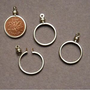 necklace pendant pk//10 Nickel USA 5 cent Coin Holder Bezel ~ Gold Tone charm