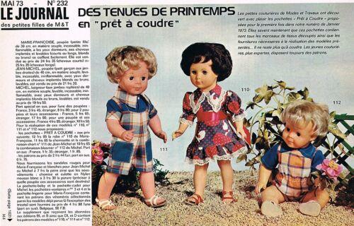 ▬► Page Poupée Marie Françoise Jean Michel Modes et Travaux 05//1973