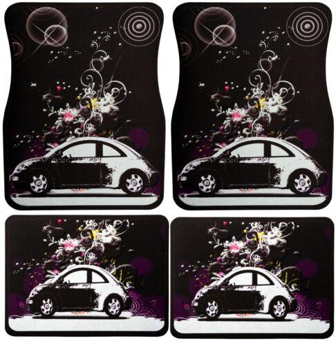 4pcs Universal set car floor mats rubber with flower power vw beetle design
