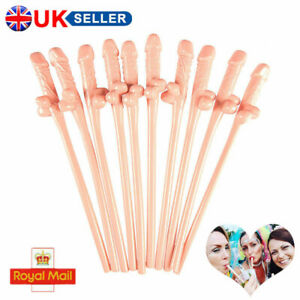 10Pcs Cock Penis Straws Hen Party Willy Cocktail Drinking Accessories Plastic UK