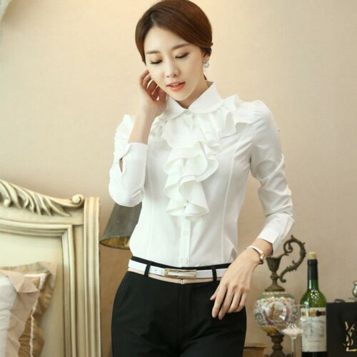 Damen Chiffon Office Bluse Rüsche drapiert Rüschen Trimm Hemd langärmlig Retro