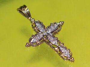 #> BEAUTIFUL design Real 14k Yellow & White Gold Diamond Cross Pendant Jesus