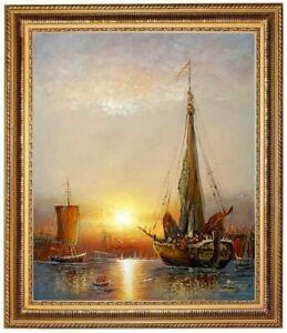 Olbild-Segelschiffe-im-Hafen-Meer-Sonnenuntergang-HANDGEMALT-Gemaelde-F-50x60cm
