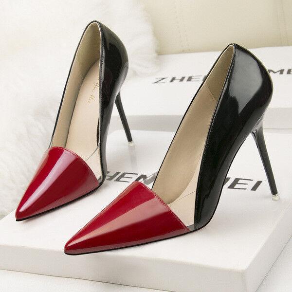 Zapatos de salón zapatos de mujer 10 10 10 cm elegantes tacón de aguja rojo negro  selección larga