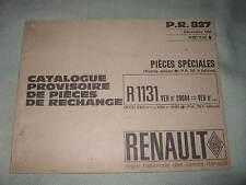 CATALOGUE PROVISOIRE DE PIECES DE RECHANGE / RENAULT / R1131 / FLORIDE / 1964