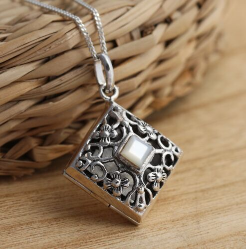 Solid 925 Sterling Silver Locket Pendant Necklace Filigree Boxed
