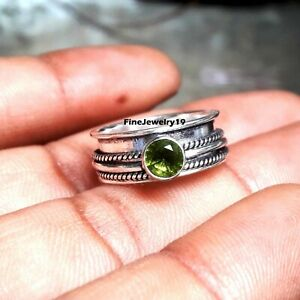 Peridot-Ring-925-Sterling-Silver-Spinner-Ring-Meditation-Statement-Jewelry-A436