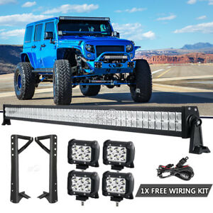 For-2007-2018-Jeep-Wrangler-JK-52-039-039-LED-Light-Bar-4x-4-034-Lamps-amp-Mount-Bracket