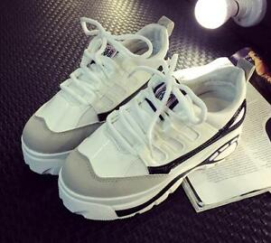 Women/'s Trainers Round Toe High Casual Lace Up Platform Creeper Sneakers Shoes