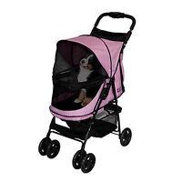 Pet Gear Stroller Happy Trails No-zip 4 Wheel Stroller Pink Diamond 30 Lbs