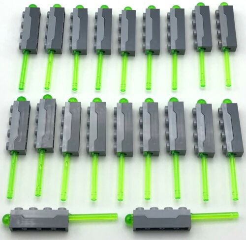 LEGO 20 NEW SPRING LOADED BLASTERS TRANS-BRIGHT GREEN DART SHOOTER MISSILES