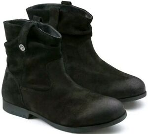 Details about New Birkenstock Sarnia Black Suede Leather Ankle Boots Reg Fit 36, US Women's 5