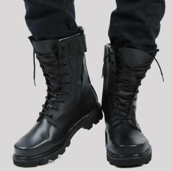 Mens Military Fur Lining Stylish Motorcycle Combat Ankle Boots Lace Up shoes New