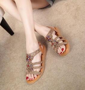 Schuhe Neu Freizeit Böhmen Keilabsatz Handgefertigte Frauen Knit Perlen Flache Sandalen qpw8vqAxa