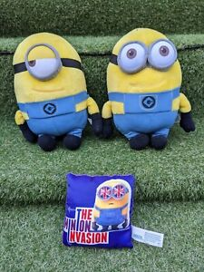 Despicable-Me-Minions-Plush-X2-And-Rare-Little-Pillow-Soft-Toys-Great-Condition