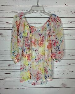Cabi-Women-039-s-Size-XS-Extra-Small-White-Floral-Watercolor-Spring-Blouse-Top-Shirt