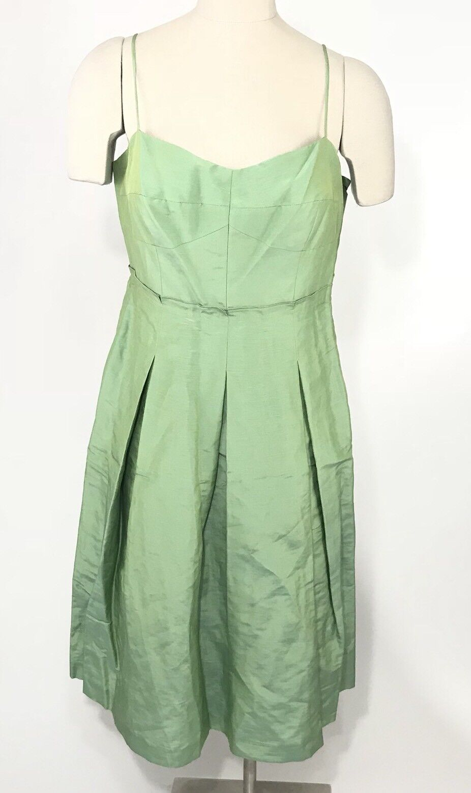 Lafayette 148 Dress Size 10 Linen Silk Sleeveless Sweetheart Pleated Midi Green