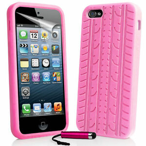 outlet store de108 cd27f Details about Baby Pink Tyre Tread Silicone Rubber Case for iPhone 5/5S &  Free Stylus