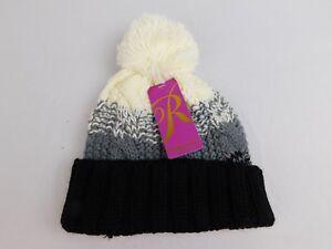 a135cb1553d5e7 Rampage Women's Cable-Knit Pom Pom Winter Beanie Hat Black/White ...