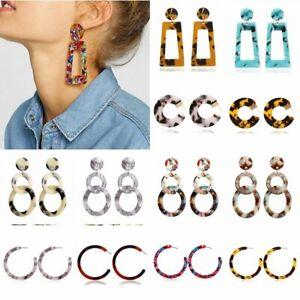 Geometric-Circle-Acrylic-Hoop-Print-Long-Dangle-Drop-Earrings-Womens-Jewellery