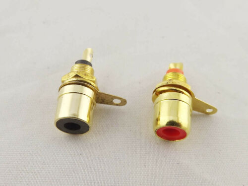 100x Gold RCA Phono Female Chassis Panel Mount Socket Metal Connector Black Red