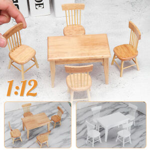 Kids-Toy-1-12-Dollhouse-Miniature-Kitchen-Furniture-1x-Wooden-Table-4x-Chairs