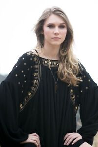 Sexy-Black-Long-Sleeve-Tunic-Dress-w-Embroidery-Sequins-Bow-Arrow-S-M-or-L