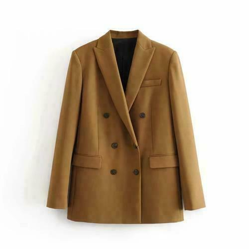 Womens Slim Fit Double-Breasted Blazers Jacket Mid Length Business Casual Coat