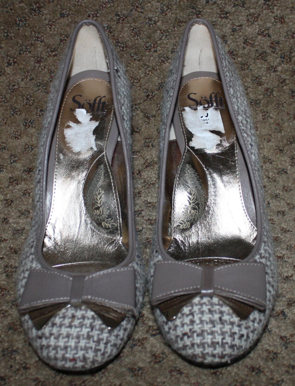 SoFFT Ivory Taupe Tweed Läther Bow Pumpar skor skor skor skor NWOB 11M  utlopp på nätet