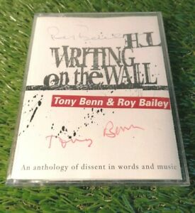 The-Writing-on-the-Wall-by-Tony-Benn-amp-Roy-Bailey-1996-Cassette-with-Autographs