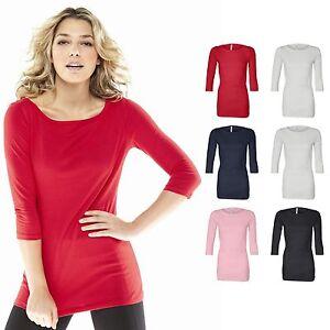 Bella-GWEN-3-4-Sleeve-Ladies-Boatneck-Scoop-Neck-Womens-T-shirt-Size-S-2XL-6515