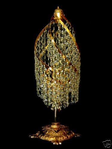 *ECHTES KRISTALL* NACHTTISCH SCHREIBTISCH TISCH LAMPE Verfügb. in Gold o. Silber