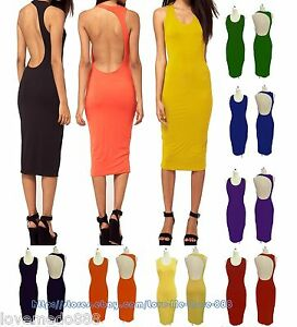 WOMENS-One-shoulder-Cocktail-Party-Evening-Club-Backless-Midi-Dress-S-M-L-XL