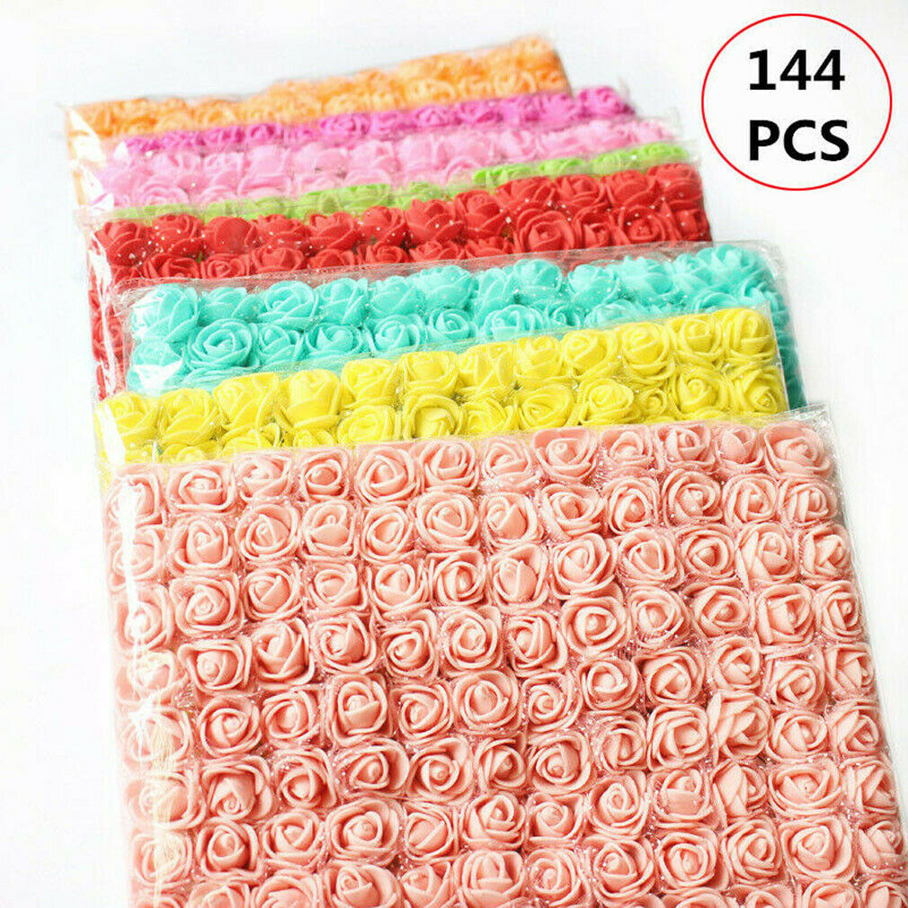 144Pcs Artificial Foam Mini Roses Head Small Flowers Wedding