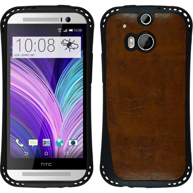 Silicone Case for HTC One M8 leather optics brown + protective foils
