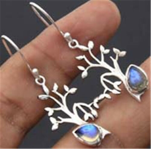 Fashion Tree Leaves 925 Silver Moonstone Women Jewelry Dangle Drop Earrings