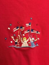 Woman's Quacker Factory Patriotic America Flag Embroidered Red Top Size 3X