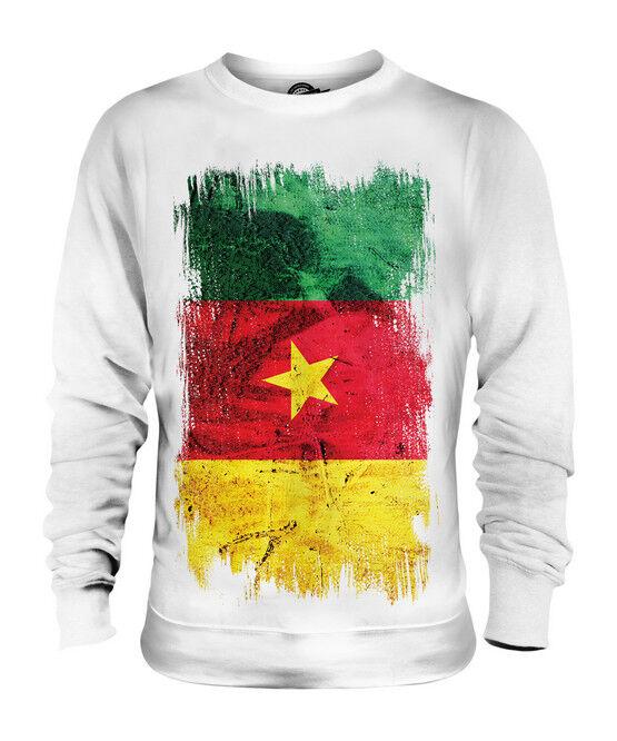 CAMEROON GRUNGE FLAG UNISEX SWEATER TOP CAMEROUN FOOTBALL CAMEROONIAN SHIRT