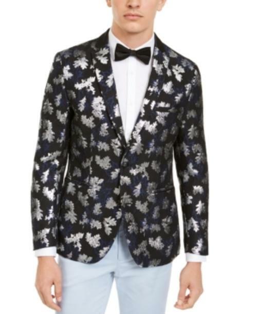 Inc Men's Abstract Print Long Sleeve Metallic Jacquard Blazer (Black, M)