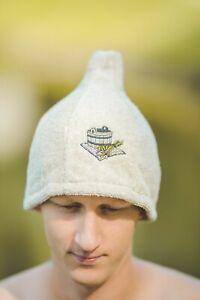 Sauna Hat Natural Wool Felt Cap Bath House Kit Schapka Hat Saunahut Saunamütze