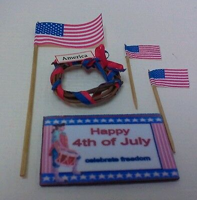 Dollhouse Mini 4th of July Welcome Mat 3 American  Flags /&  Wreath 1:12 scale