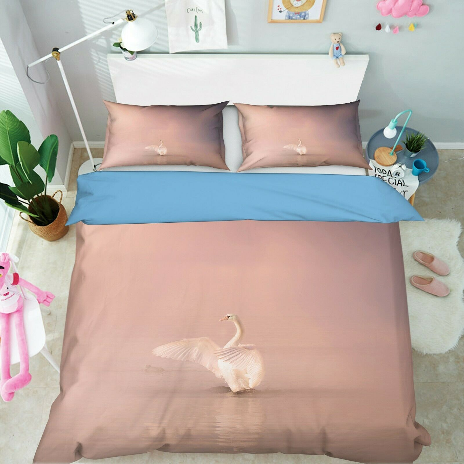 3D Lake Swan O04 Animal Bed Pillowcases Quilt Duvet Cover Set Queen King Amy