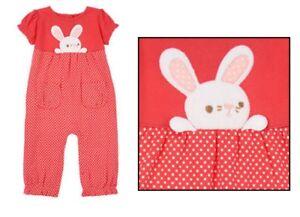 BABY-BUNNY-NWT-Gymboree-Soft-Velvet-Bunny-Polka-Dot-1-Piece-Romper-6-12-months