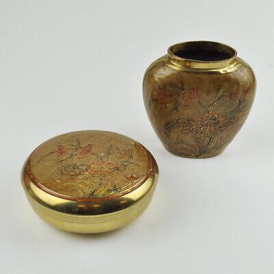 Vase & Deckeldose - Messing Massiv - Blumendekor - Floral - Dose - Vintage Brass
