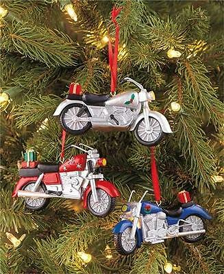 SET OF 3 CHRISTMAS TREE HOLIDAY MOTORCYCLE BIKER ORNAMENTS W/RED RIBBON TO HANG