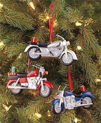 SET OF 3 CHRISTMAS TREE HOLIDAY MOTORCYCLE BIKER ORNAMENTS W/RED RIBBON TO HANG