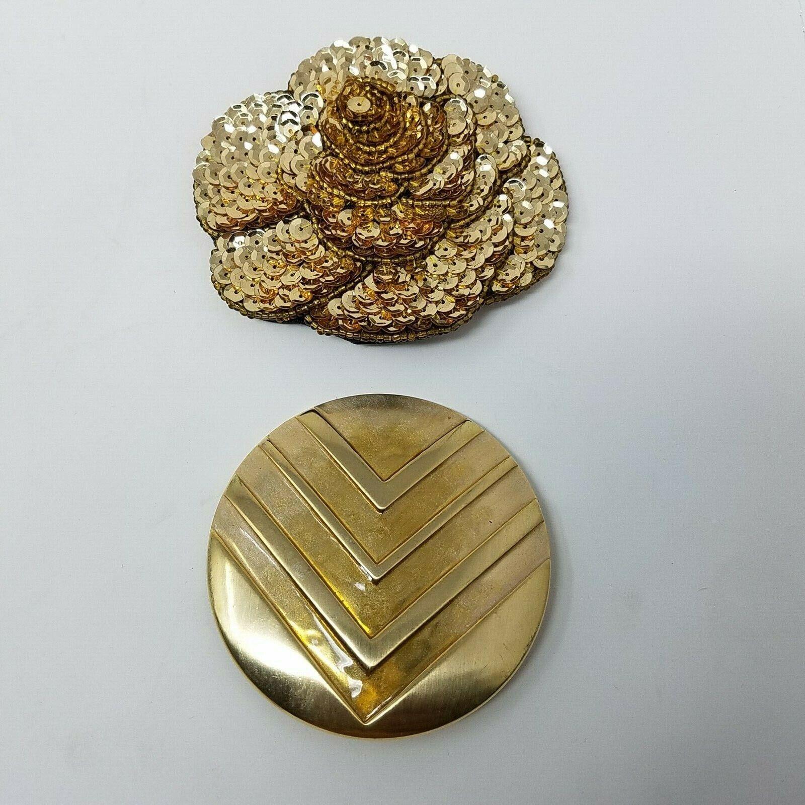 VINTAGE Charmant Beverly Hills Belt Buckles Gold Metal Sequins Lot 2 Flower V