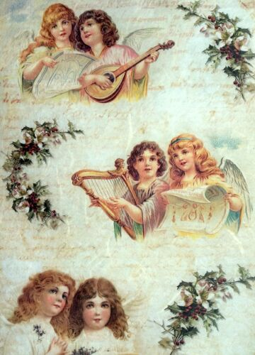 Rice Paper for Decoupage Decopatch Scrapbooking Sheet Craft Christmas Angels 3