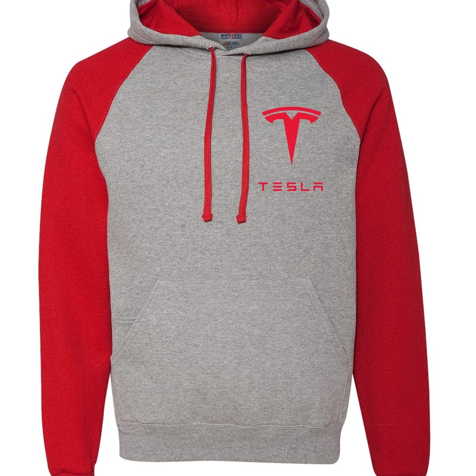 RED GREY Hooded Sweatshirt TESLA Model 3 Car Free Shipping Embroidery or Vinyl