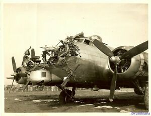Org-Photo-398th-Bomb-Group-B-17-Bomber-43-38172-w-Nose-Section-Shot-Off
